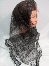 MANTILLA VEIL BLACK/GOLD HEAD COVERING MASS LATIN CHAPEL CHURCH CATHOLIC 42
