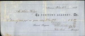 1855 Newtown Connecticut (CT) Receipt Newtown Academy Dr Cha Cook