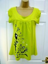 MARCO POLO Ladies Size M 10 12 Green Black Quirky Caterpillar Stretchy T Shirt