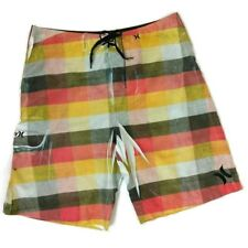 Hurley Mens Board Shorts Size 34 Orange Plaid Sublimation Print Swim
