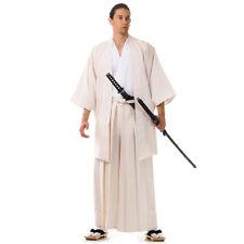 Japan Samurai Kimono Set 3 Teile Kendo Gi + Hakama + Haori Baumwolle Creme Weiß