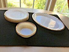 "Lot Fire King White Swirl Gold Trim 4 Salad/Lunch 7 3/4"" Plates,Platter,2 Bowls"