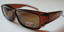 Andevan™ 100%UV Polarized Sunglasses cover over RX clear brown frame - Size M