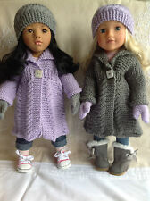 "Dolls Fashion clothes knitting  pattern. 18"" doll. Cable coat set."