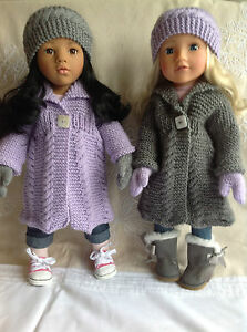 """Dolls Fashion clothes knitting  pattern. 18"""" doll. Cable coat set."""