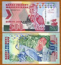 MADAGASCAR, 2500 Francs ND (1993), P-72Ab, UNC