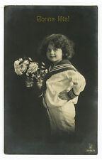 c 1912 Vintage Children Child Cute SAILOR SUIT KID antique photo postcard