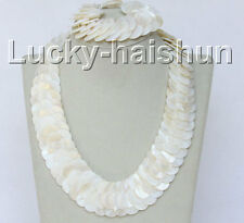 "set 19"" 8"" 30mm handmade Woven white shell necklace bracelet j10312"