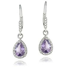 925 Silver 2.5ct Amethyst & Diamond Leverback Earrings