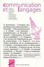 COMMUNICATION ET LANGAGES N° 107 1996 - MEDIAS PUBLICITE EDITION GRAPHISME...