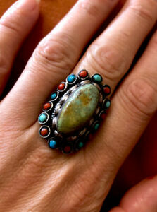 Unusual Vintage Heavy Sterling Silver 925 Navajo Turquoise Ring