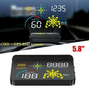 "5.8"" OBD+GPS Car Head-up Display Wireless HUD Navigation Speed Optical Projector"