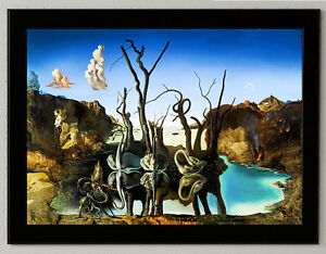 Salvador Dali Swans reflecting... canvas print framed giclee 6.8X8.8&10X13.6