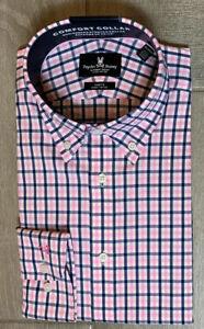Psycho Bunny Modern Fit Dress Shirt Stretch ,Pink/Blue/white Check ,16.5 32/33