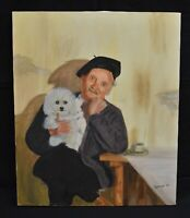 1997  Oil Painting Frenchman with Poodle Signed Rosemary