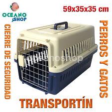 TRANSPORTÍN PERROS Y GATOS PLASTICO CALIDAD CIERRE Y ASA 59x35x35 cm D530 0151