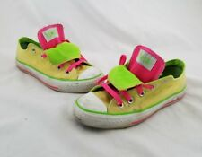 CONVERSE ALL STAR Women's Sz 6 YELLOW NEON GREEN PINK Double Tongue Sneakers C17