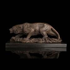 19.2'' West Art Sculpture Animal Tiger Bronze Copper Statue Marble Base