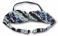 ELLE Women Size M L XL Multi Print Bandeau Halter Strap Swim Bikini Top NEW