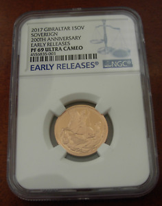 Gibraltar 2017 Gold 1 Sovereign NGC PF69UC 200th Anniversary Early Releases
