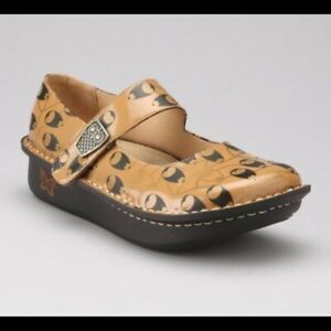 Alegria Paloma Owl Print Patent Leather Mary Jane Comfort Shoes Sz.40 / 9.5-10