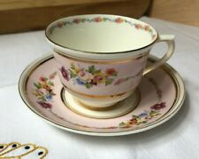 Colclough China Pink and Gold Cup and Saucer Set With Floral Motif, Gold Accent