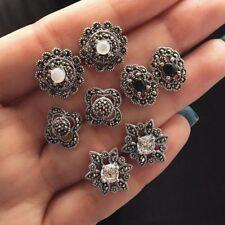 4 Pairs/Set White Opal Earring Set Flower Stud Crystal Rhinestone Black Gem