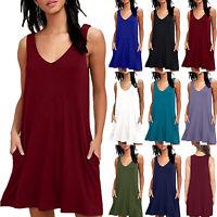 Women Sleeveless Shirt Summer Loose Mini Dress Casual Flared Swing Skater Dress
