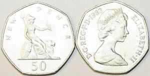 1969 to 1997 Elizabeth II Cupro Nickel Decimal Large 50p Choice of Date / Year