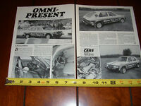 DODGE OMNI DRAG RACE CAR - ORIGINAL 1988 ARTICLE