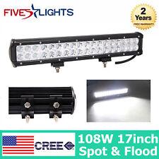 17INCH 108W CREE LED WORK LIGHT BAR FLOOD/SPOT COMBO FOG OFF ROAD TRUCK JEEP SUV