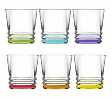 NEW COLOURED SET OF 6 GLASSES DRINKING TUMBLER WATER JUICE GLASS CUPS COLD