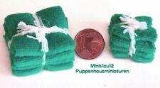 7109# Badetücher und Handtücher grün - Puppenhaus - Puppenstube - M 1zu12
