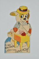 Vintage Anthropomorphic No Baloney I Love You Puppy Chef Butcher Mechanical Card