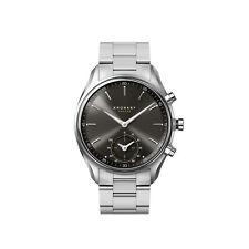 Relojes de pulsera fecha para hombre, acero inoxidable plateado
