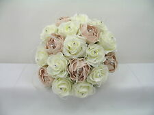 Wedding Flowers Ivory Rose, Mocha Pink Peony, Posy Bouquet, Bride/Bridesmaid,