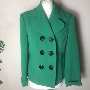 Gorgeous Bright Emerald Green Ladies Papaya Pea Coat Size 16 Double Breasted