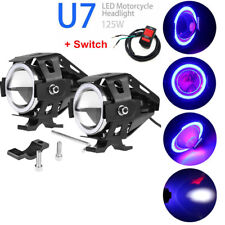 2X CREE U7 LED 125W Motorcycle Blue DRL Headlight Driving Fog Light &Switch