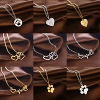 Hot Cute Paw Print Heartbeat Heart Necklace Pendant Jewelry Pet Dog Cat Memorial