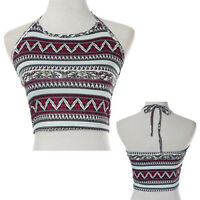 GC- Women Boho Floral Print Tank Tops Bustier Bra Vest Crop Bralette Halter Cami