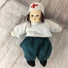 "Porcelain Face Sand Filled Brown Hair 5"" Doll White Red Cross Hat Vintage"