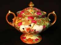 ANTIQUE SATSUMA MORIAGE SUGAR BOWL* SIGNED * c.1880