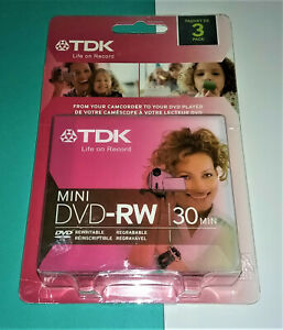 TDK Mini DVD-RW Camcorder Computer 30 Min Rewritable DVD Disk 3 Pack New Sealed