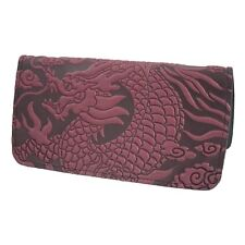 Cloud Dragon Wine Brown Hand Crafted Leather Checkbook Cover by Oberon Design