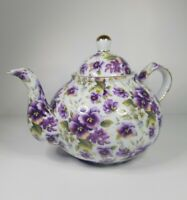 Formalities by Baum Brothers Pansy Teapot Decor Collectible White Purple Gold