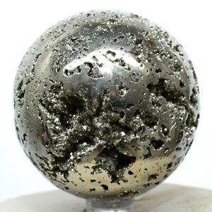 "2.4"" Pyrite Sphere Natural Druzy Crystal Geode Sparkling Mineral Stone Ball Peru"