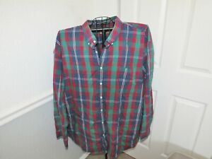 Mens Foundry Long Sleeve Plaid Red Blue Easy Care Dark Button Up Down Shirt 5XL