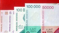 5- 1991,1993 Mixed Notes 1,5,100,50000 and 100,000 Dinara from Croatia   C-055