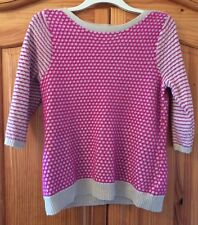 Per Una Pink Check Jumper Smart Casual Chunky Knitwear M&S Size 18