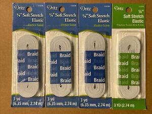"""Lot of 4~Dritz 1/4"""" Braided Soft Stretch Elastic - White  (11337W) 3 yards each"""